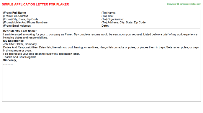Flaker Job Application Letter Template