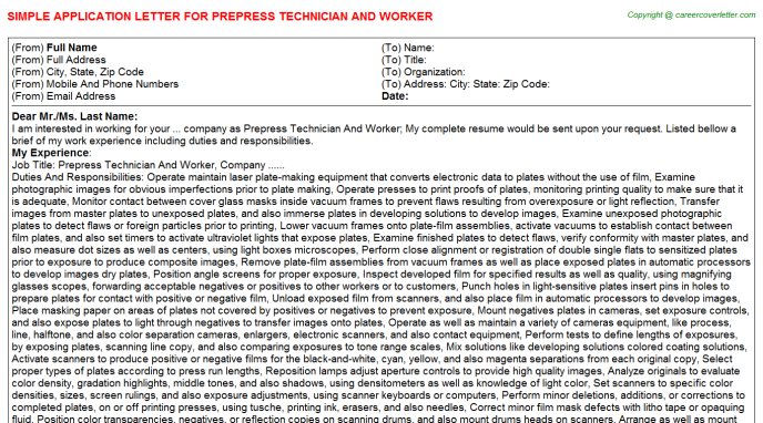 Prepress Technician And Worker Application Letter Template