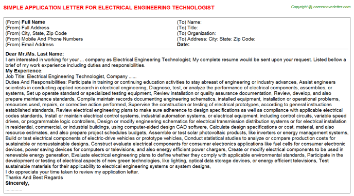 Electrical Engineering Technologist Application Letter Template