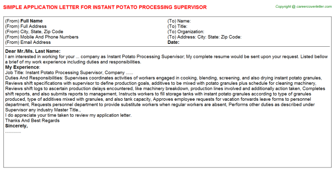 instant potato processing supervisor application letter template