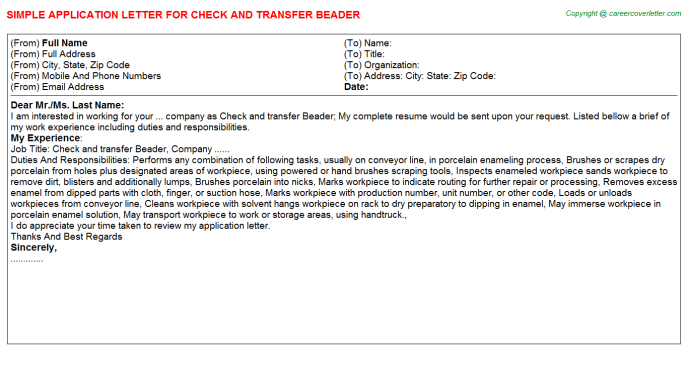 check and transfer beader application letter template