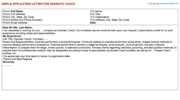 Dramatic Coach Application Letter Template