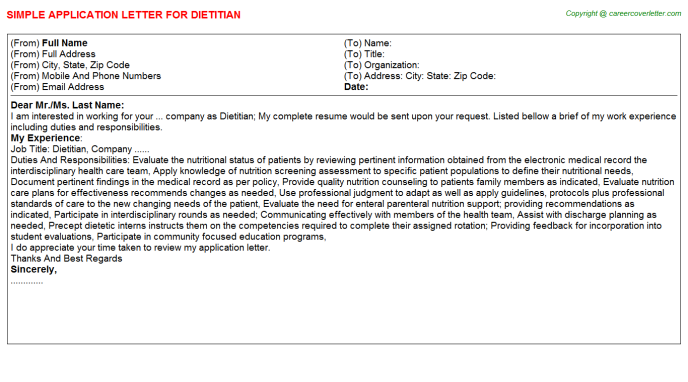 Dietitian Application Letter Template