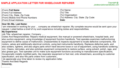 Wheelchair Repairer Job Application Letter Template