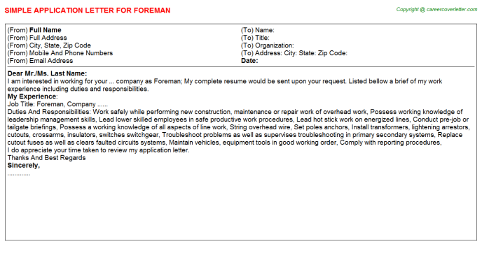 Foreman Application Letter Template