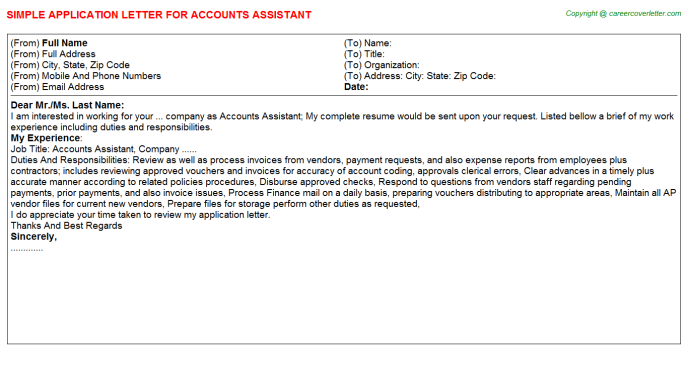 Accounts Assistant Application Letter Template