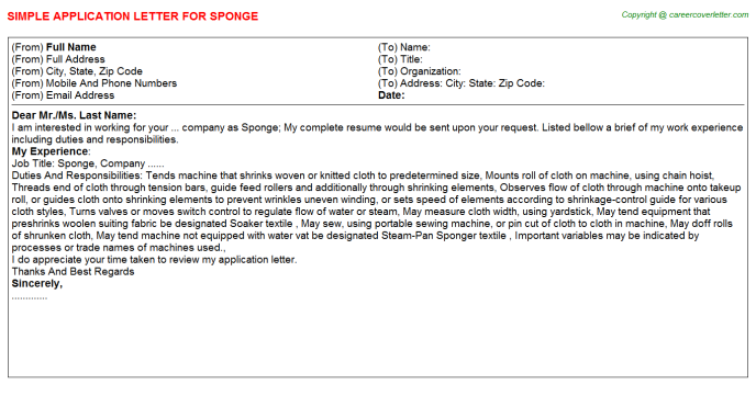 Sponge Job Application Letter Template