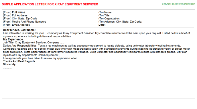 X Ray Equipment Servicer Job Application Letter Template