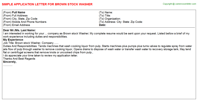 Brown Stock Washer Application Letter Template