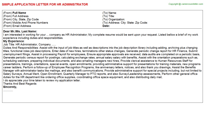 HR Administrator Application Letter Template