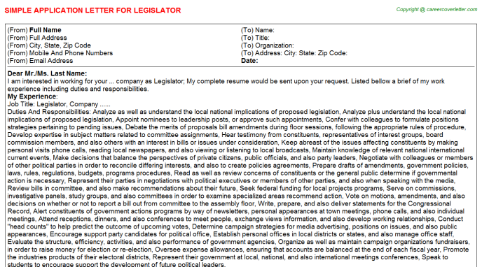Legislator Application Letter Template