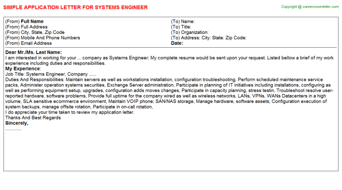 Systems Engineer Application Letter Template