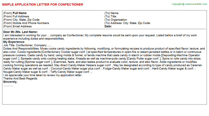 Confectioner Application Letter Template