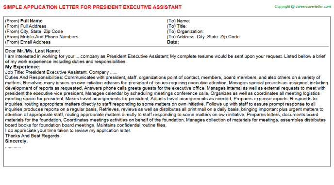 president executive assistant application letter template