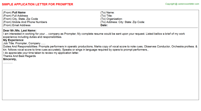 Prompter Application Letter Template
