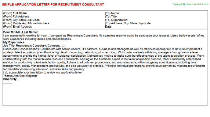 Recruitment Consultant Application Letter Template