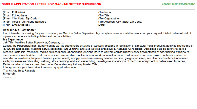 Machine Setter Supervisor Application Letter Template
