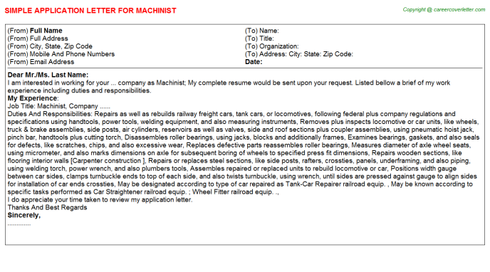 Machinist Application Letter Template
