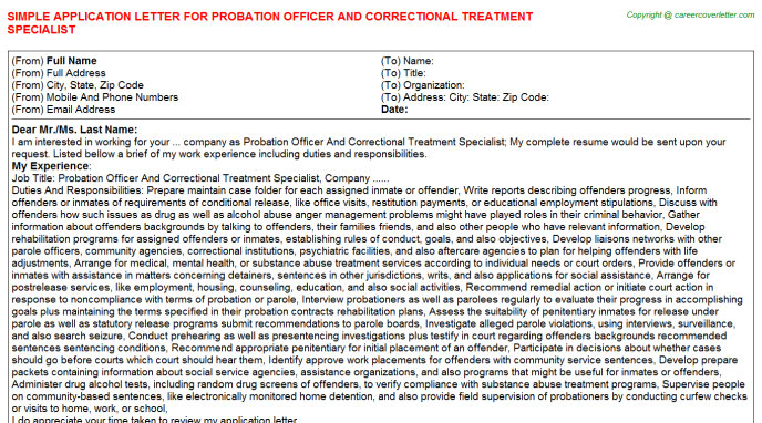 Probation Officer And Correctional Treatment Specialist Job Application Letter Template