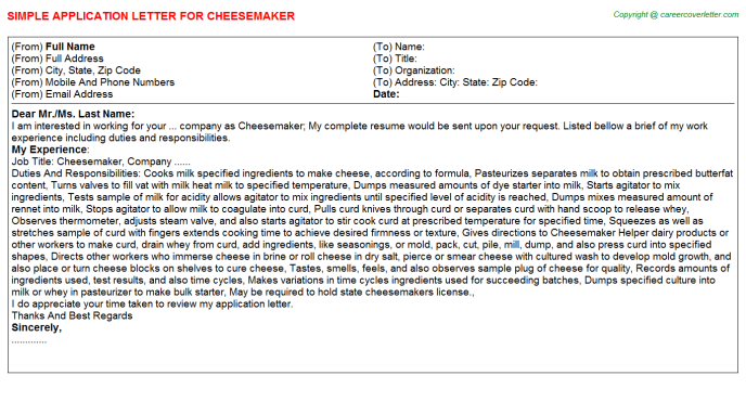 Cheesemaker Application Letter Template