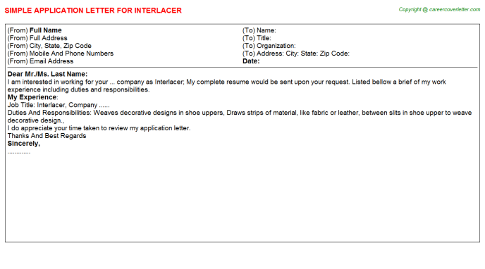 Interlacer Application Letter Template