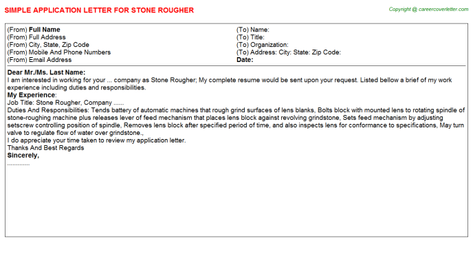 Stone Rougher Job Application Letter Template