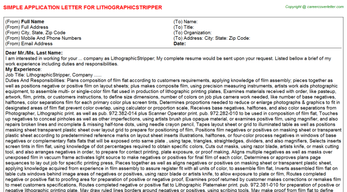 LithographicStripper Application Letter Template