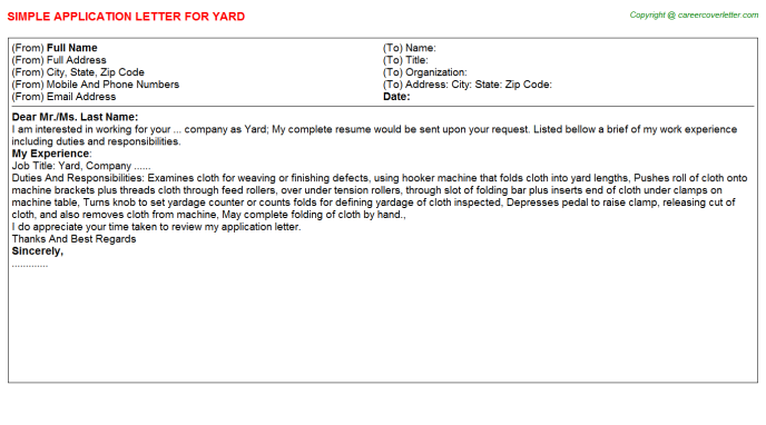 Yard Job Application Letter Template