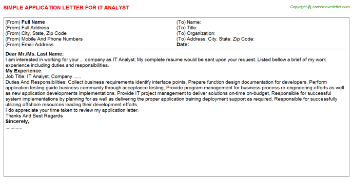 IT Analyst Application Letter Template
