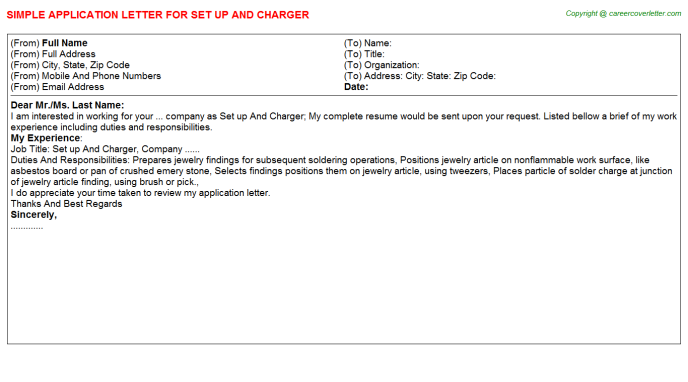 Set Up And Charger Application Letter Template