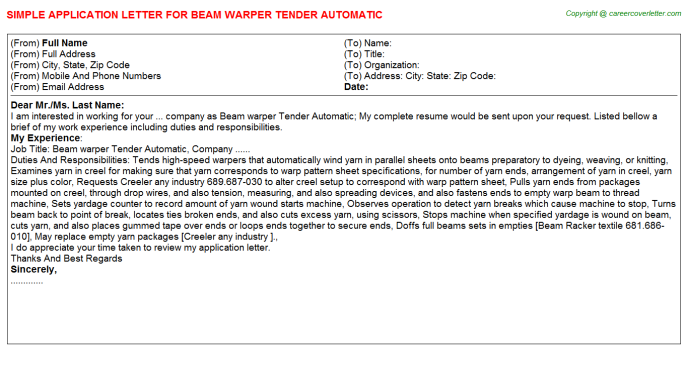 Beam warper Tender Automatic Application Letter Template