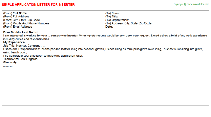Inserter Job Application Letter Template