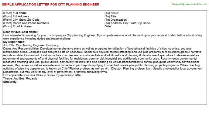 city planning engineer application letter template