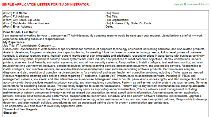 IT Administrator Application Letter Template