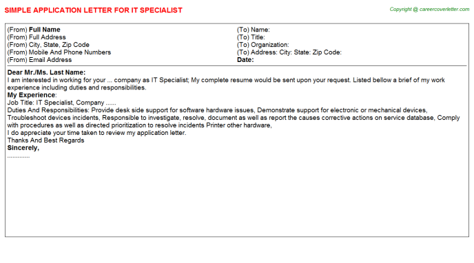 IT Specialist Application Letter Template