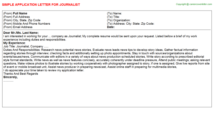 Journalist Job Application Letter Template
