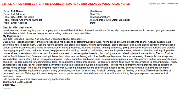 Vocational Application Letters