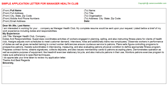 Manager Health Club Job Application Letter Template