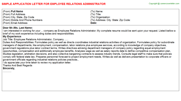 employee relations administrator application letter template
