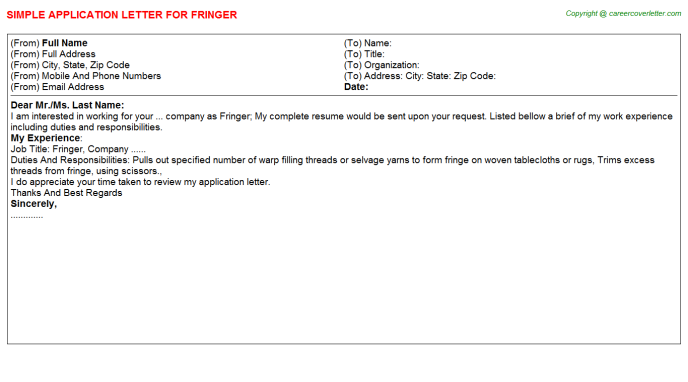 Fringer Application Letter Template