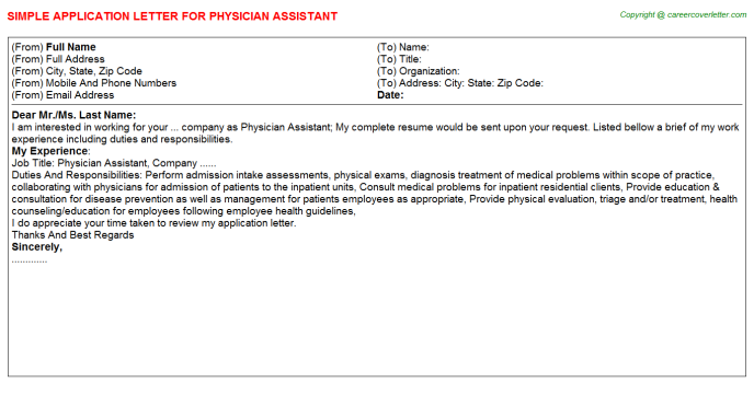 Physician Assistant Application Letter Template