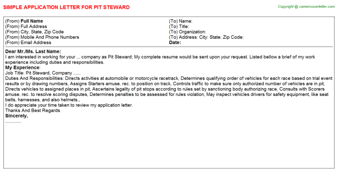 Pit Steward Job Application Letter Template