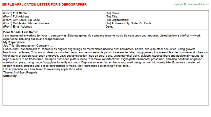 Siderographer Application Letter Template