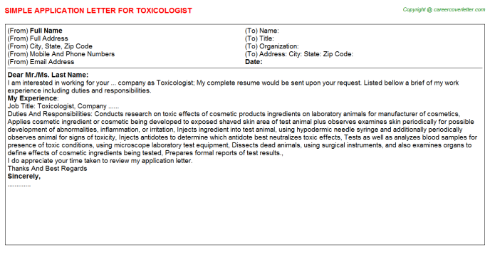 Toxicologist Job Application Letter Template