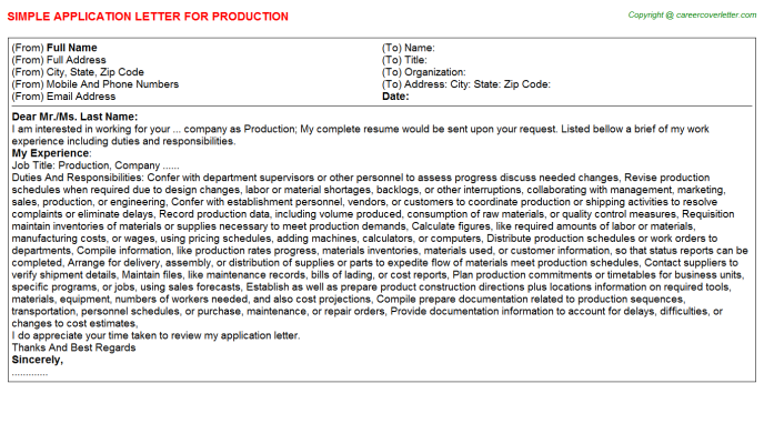 Production Application Letter Template