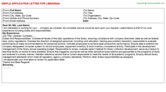 Librarian Application Letter Template