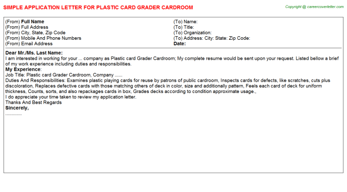 plastic card grader cardroom application letter template