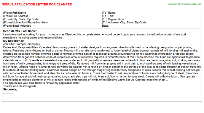 Clamper Application Letter Template