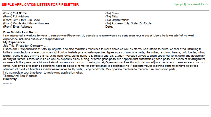 Firesetter Application Letter Template