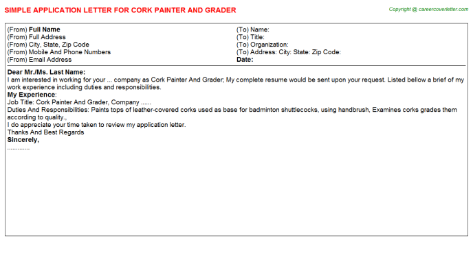 cork painter and grader application letter template